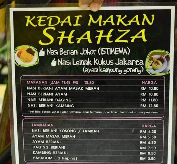 Menu di Shahza beriani Shah Alam