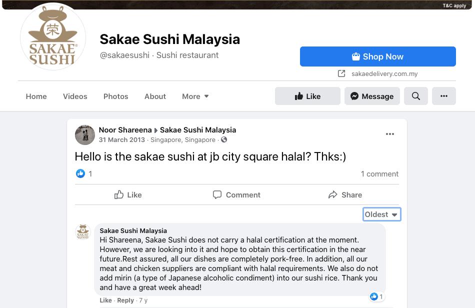 Sakae Sushi halal atau tidak?