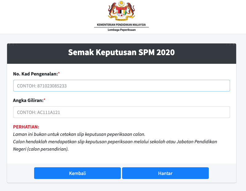 myresult2.moe.gov.my SPM