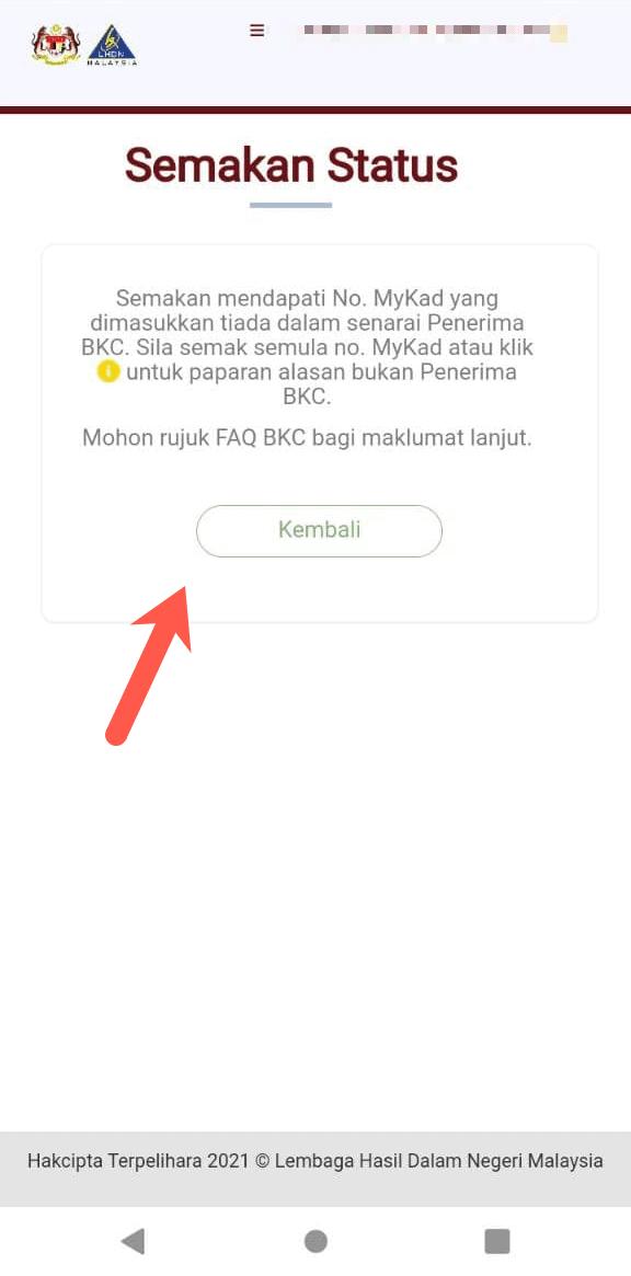 Semakan status BKC tiada rekod